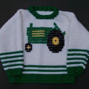 Vintage Sweater Handmade Toddler Crochet Tractor
